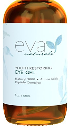 Eye Gel - Larger Size 2 oz Bottle - Best Firming Eye Cream Treatment for Dark Circles, Puffy Eyes, Crow's Feet, Fine Lines & Under Eye Wrinkles by Eva Naturals Under Natural