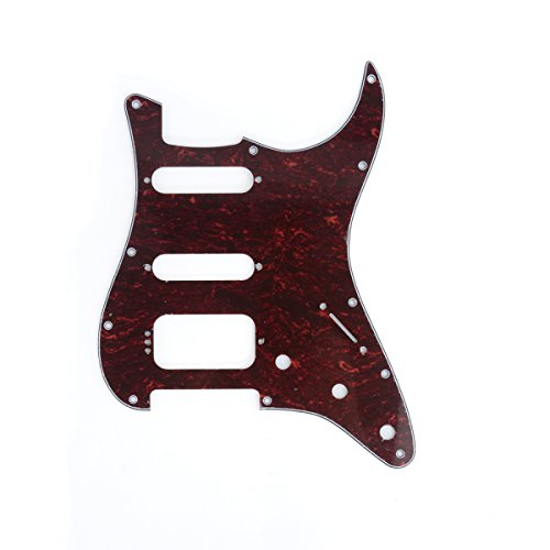 (Musiclily Pro 11 Hole Guitar Strat Pickguard HSS Scratch Plate for Fender American Stratocaster Style Guitar Replacement, 4Ply Red Tortoise Shell)