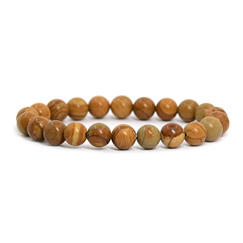 "Natural Wood Jasper Gemstone 8mm Round Beads Stretch Bracelet 7"" Unisex ..."