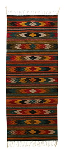 NOVICA Multicolor Zapotec Wool Area Rug (2.5' x 6.5'), 'Guelaguetza Dance' by NOVICA