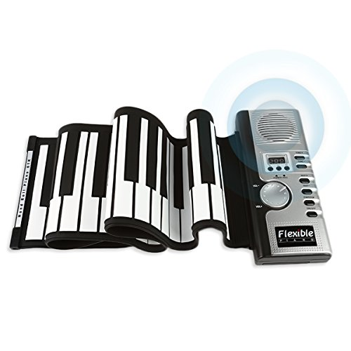JouerNow RUP001 61 Thickened-Keys Roll Up Piano, Multifunctional Electronic Digital Synthesizer, Battery-Operated, with Built-in Speaker/ Headphone (12 Days Of Halloween Chords)