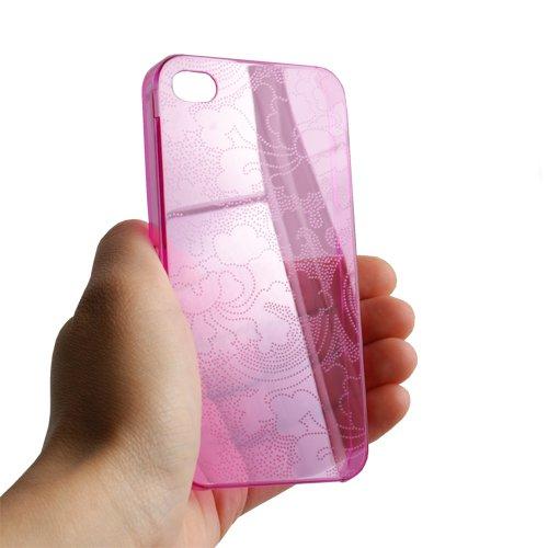 System-S Crystal Hard Case Hülle Cover Tasche Schutzhülle in Pink für Apple iPhone 4