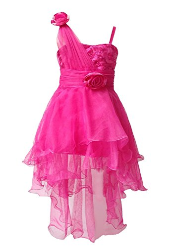 BHL Girls Sequin Trailing Wedding Flower Dresses 2-8 Years (6-7, Hot Pink)