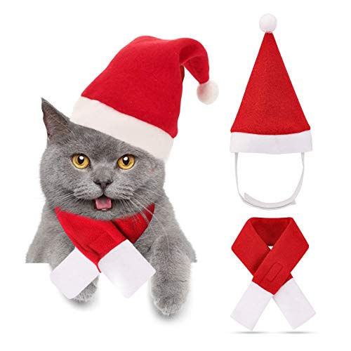 TRAVEL BUS Christmas Pet Costume- Cat Santa Hat with Scarf, Xmas Costume Dress Up for for Kitten Puppy Small Pets Fashion Christmas Accessory (L)