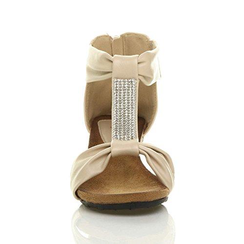 Mid T Ajvani Bar Wedge Heel Size Nude Women Sandals Beige I1WrAW5n