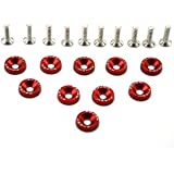 Amooca Red Password JDM Aluminum Alloy Fender Bumper Engine Dress Up Washers Kit with Bolts - 10 Pieces