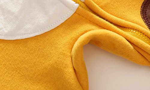 Omiky® Kleinkind Neugeborene Baby Jungen Mädchen Tier Cartoon Hoodie Spielanzug Outfits Kleidung Gelb2