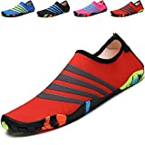 Barefoot Water Shoes Beach Shoes Womens Mens Kids Sports Aqua Shoes Swim Shoes for Beach Boating Fishing Yoga Diving Surfing with Quick Dry Red
