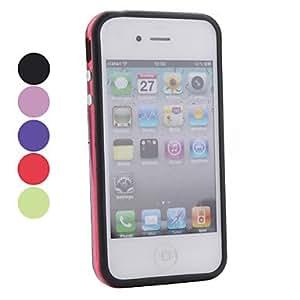 Soft Translucent TPU Bumper Frame Case for Apple iPhone 4, 4S (Metal Button) --- COLOR:Blue