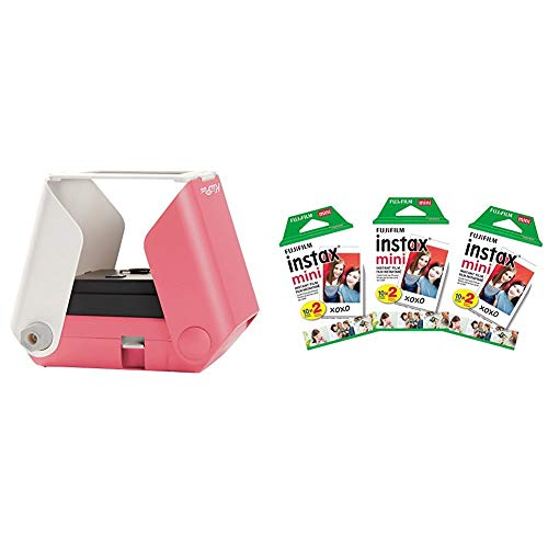 KiiPix Smartphone Picture Printer, Pink with Instax Mini Instant Film Value Pack – (3 Twin Packs, 60 Total Pictures)
