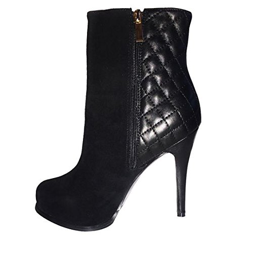 Franchini & Co. Women's Alexa Black Suede & Quilted Leather Ankle Boot Stilettos 37EU(6M (Quilted Stiletto Boots)