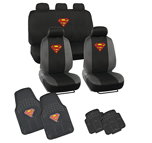 Official Licensed Superman Seat Covers - Front Rear Full Set + 4 Pc Rubber Floor Mats (Superman Seat Covers For Cars compare prices)