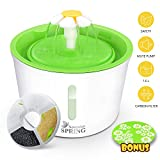 Pet Water Fountain with Water Level Window, Ultra Silent Healthy and Hygienic Cat Waterfall Flower Style Fountain, 3 Modes Drinking Fountain, with 1 Carbon Filter and 1 Large Silicone Mat, Green