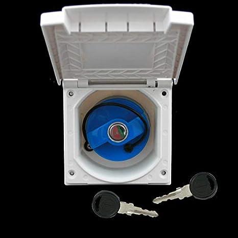 Einfüllstutzen Wasser Außensteckdose Frischwassertank Tankdeckel Wohnwagen Wohnmobil Mit Schloss Weiss 40 Mm Raute Auto