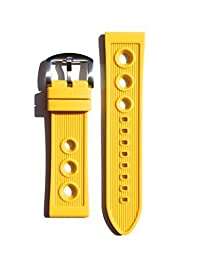 Breitling Rally Style 24mm YELLOW Rubber/Silicone Replacement Watchband