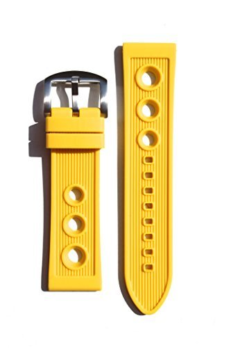 Breitling Rally Style 22mm YELLOW Rubber/Silicone Replacement Watchband
