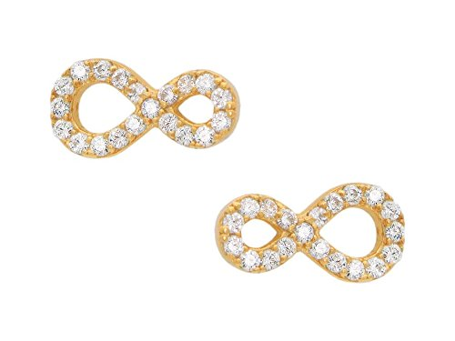 CZ FRONAY 14k Gold Plated Sterling Silver Simulated Diamonds Infinity Stud Earrings