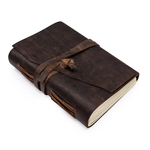 - Rusteque Leather Journal Writing Notebook: Vintage Unlined Diary Or Journals/Notebooks for Men and Women - Blank Note Taking Or Sketch Book to Write in with Antique Page Set and Cover - 7x5 in