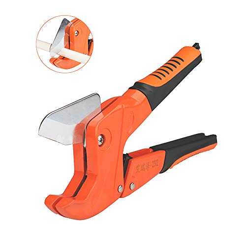 (AIRAJ Pipe Cutter PVC Plumbing Tube Cutter Plastic Hose Cutter Tool 1-1/4 inch(42mm) Ratcheting Type One-hand Fast Pipe Cutter (PVC, PP, PEX,PE) (Pipe Cutter2302))