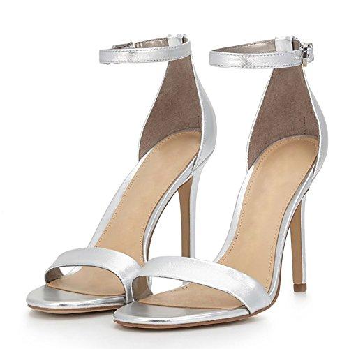 Damenmode schlanke hochhackige Schuhe Partykleid Splitter Stiletto Knöchelriemen für Sandalen r4wzxrU