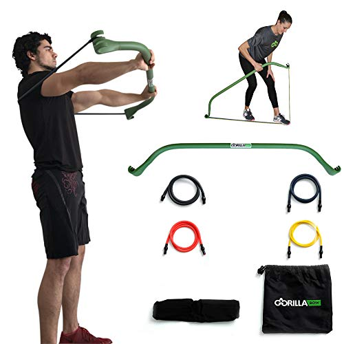 Gorilla Bow Portable Home Gym Resistance Band System, Weightlifting and HIIT Interval Training Kit, Full Body Workout Equipment (Original Green)