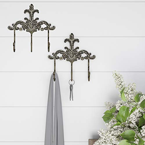 - Lavish Home 80-WALLH-2P Decorative Hooks-3-Pronged Cast Iron Shabby Chic Rustic Fleur De Lis Wall Mount Hooks (Set of 2)