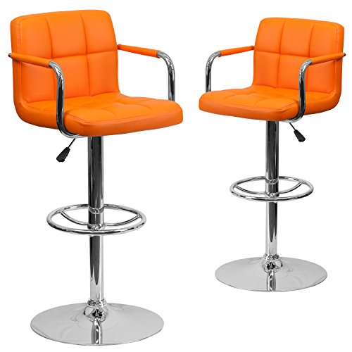 Orange Quilted Vinyl Adjustable Height Bar Stool with Arms /& Chrome Base