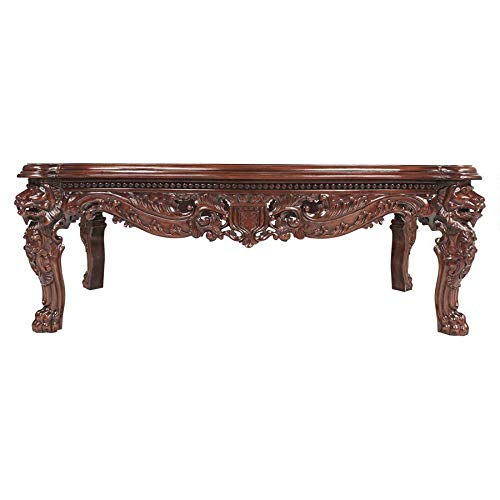 Design Toscano Lord Raffles Grand Hall Lion Leg Coffee Table, 55 Inch, Mahogany Wood, Walnut
