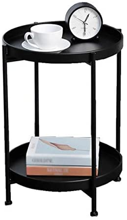 2-Tier Round Side Table End Table Iron Metal Sofa Coffee Table, Small Folding Table Living Room Office Corner Table Flower Stand Anti-Rust and Waterproof Nightstand (Black)