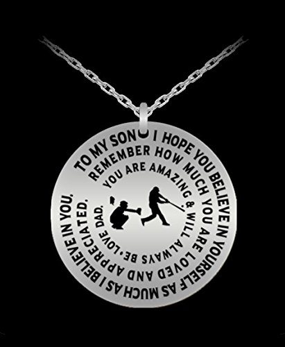 Lucky Seven Car Charm - Baseball Necklace To Son From Dad - Silver Laser Engraved Necklace - Inspirational Gift Charm