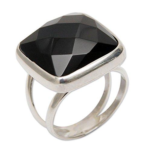 NOVICA Obsidian .925 Sterling Silver Peruvian Single Stone Ring, Lima Treasure'