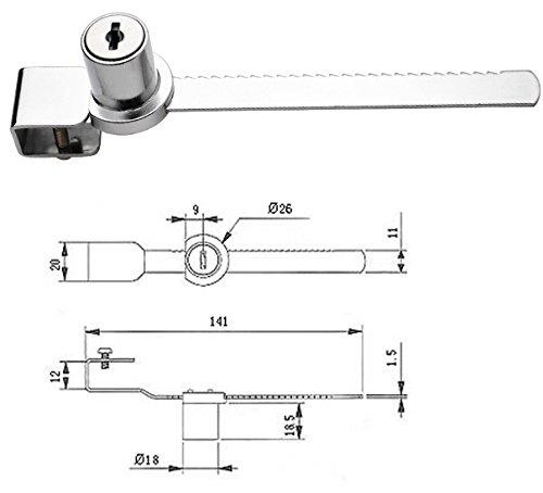 BTMB Drawer Display Case Showcase Sliding Glass Door Ratchet Lock 4Pcs w 8 Keys (Keyed Alike) by BTMB (Image #2)