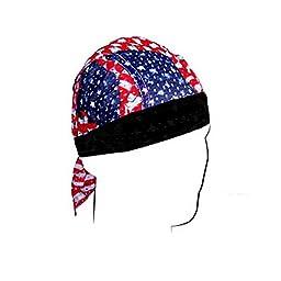 ZANheadgear Vented Sport Flydanna with Wavy American Flag Design (Multi Color, One Size)