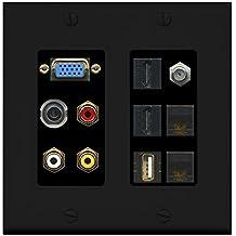 RiteAV - (2 Gang Decorative) Svga Composite 3.5mm USB 2 HDMI Coax 2 Cat6 Wall Plate Black