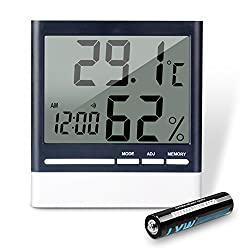 REIDEA Digital Indoor Hygrometer Thermometer, Wireless Temperature Humidity Gauge, Humidity Monitor, Time Display and Built-in Clock (Battery Included)