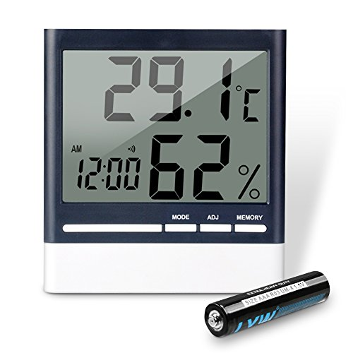 Temperature Combo Sensor - REIDEA Digital Indoor Hygrometer Thermometer, Wireless Temperature Humidity Gauge, Humidity Monitor, Time Display and Built-in Clock (Battery Included)