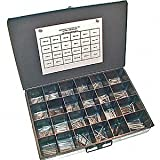 NEF Cottor Pin Assortment, Zinc Plated, 980 Pieces with Locking Metal Storage Bin