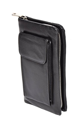 Real Cuero Suave Bolsa de Muñeca Wristlet Teléfono Embrague Organizador Bolsa H6049 Negro