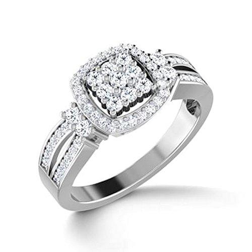 Or blanc 14K, 0,5carat Diamant Taille ronde (IJ | SI) en diamant