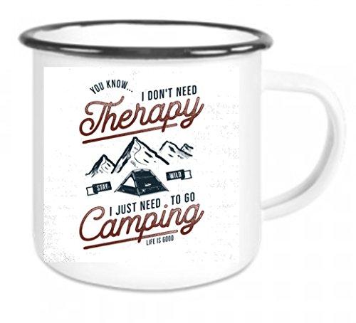 41DotIBsQPL Crealuxe Emaille Tasse mit Rand Happy Camping - Kaffeetasse mit Motiv, Campingtasse Bedruckte Email-Tasse mit Sprüchen…