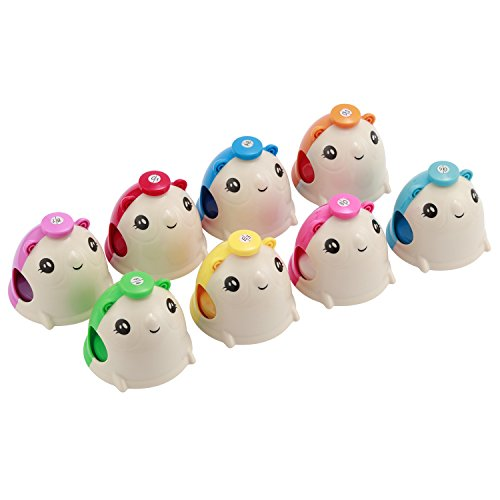 Moukey Colorful Cute Cartoon Mouse-shape Hand Bells Set Attractive Easy-to-play Kids Percussion Toys Party Favors for Christmas New Year Holiday Parties, Set of 8