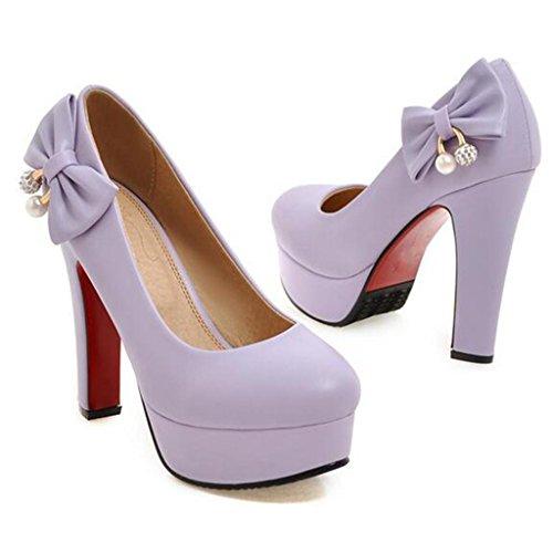 W&LM Sra Tacones altos Corbata bien Cabeza redonda Plataforma a prueba de agua Baja ayuda Boca rasa Zapatos individuales Purple