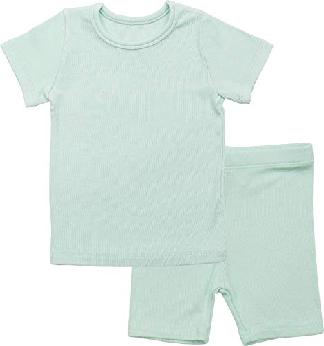 Ribbed Set Piece 2 Pajama - AVAUMA Newborn Baby Little Boys Snug-Fit Pajamas Summer Short Sets Pjs Kids Clothes (M/Mint)