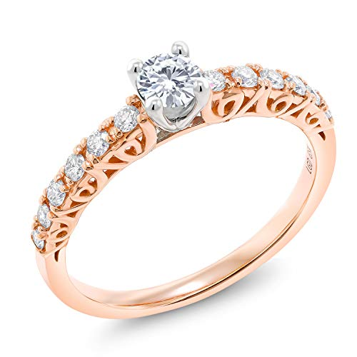 (10K Rose Gold Engagement Ring Forever Classic Round Created Moissanite & Lab Grown Diamond (Size 6))