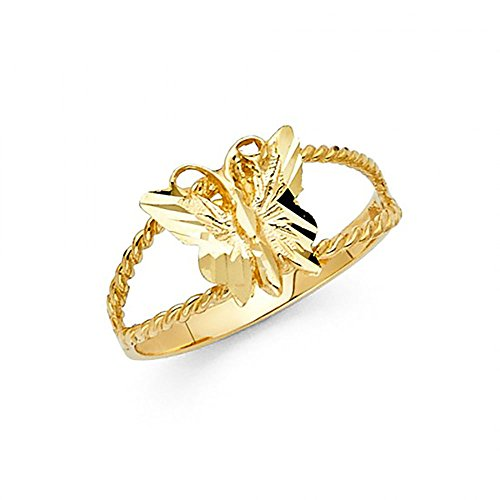 Cut Ring Butterfly Diamond (14k Yellow Gold Diamond-Cut Butterfly Rope Ring)