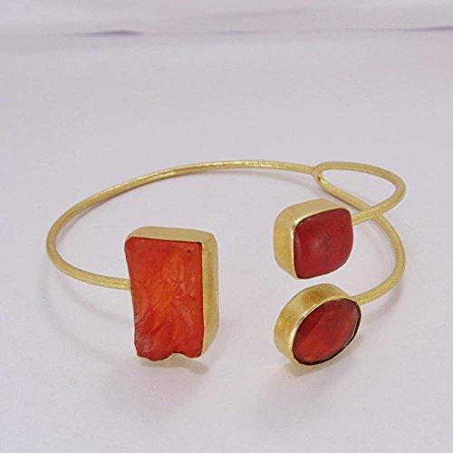 Raw Carnelian, Red Onyx And Coral Gemstone 22k Gold Overlay Brass Cuff Bangle ()