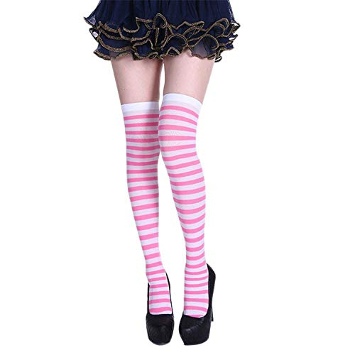 Knee Socks Girl Women Sexy Slim Striped Long Socks Autumn Christmas Halloween Easter Ball Party Costume Knee High Socks Women,9,One Size]()