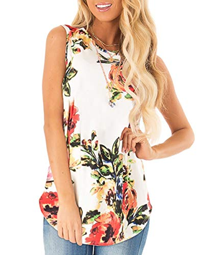 Sousuoty Womens Floral Print Tank Tops Crewneck Loose Fitting Shirts White M
