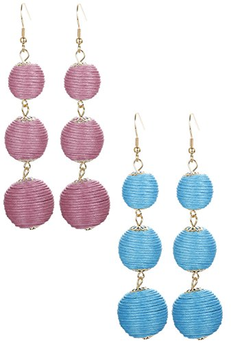 ORAZIO 2 Pairs Threaded Ball Earrings For Women Lantern Dangle Earrings Beaded Ball Ear Drops -