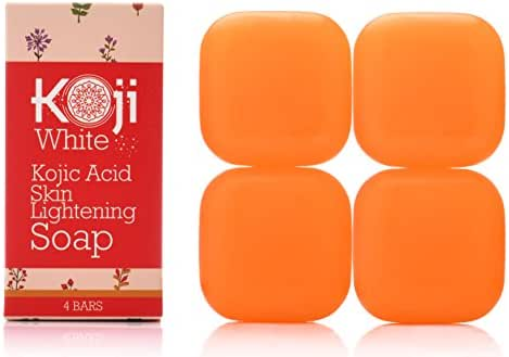 Pure Kojic Acid Skin Lightening Soap For Hyperpigmentation, Dark Spots, Sun Damage, Uneven Skin Tone (2.82 oz / 4 Bars)